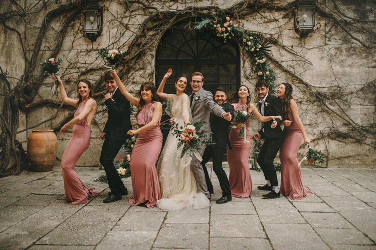Wedding Party Portrait with Bridesmaids in Pink Dresses