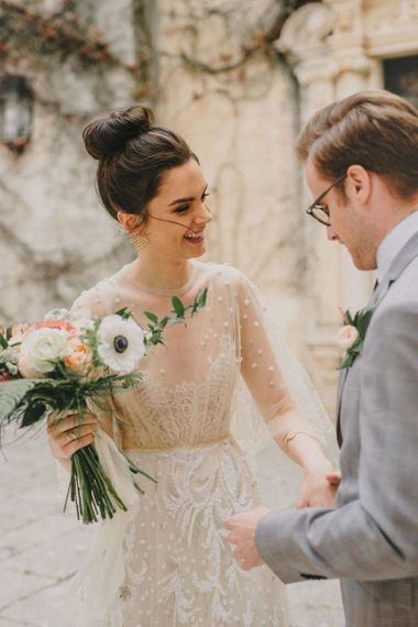 Bride Greets Her Groom at First Look Moment