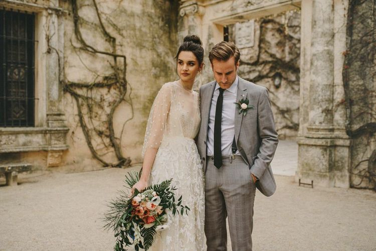 Stylish Bride and Groom at Small Wedding