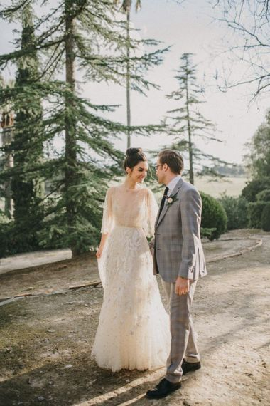 Sunspray Wedding Portrait with Bride in Delicate Lace Wedding Dress