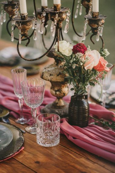 Crystal Tumbles and Wine Glasses for Wedding Table