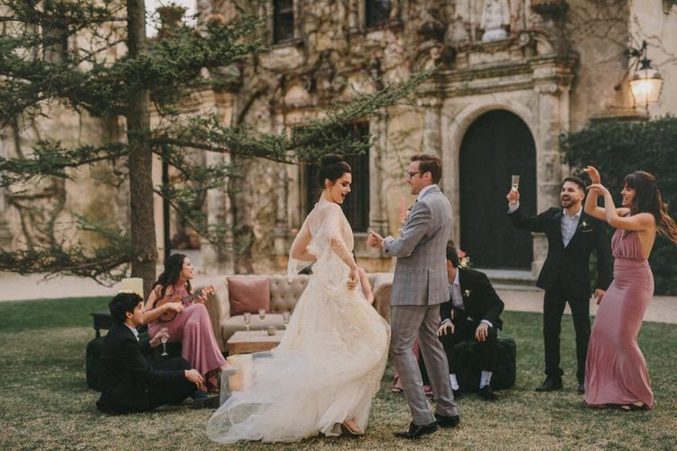 Outdoor Small Wedding Reception with Bride and Groom Dancing