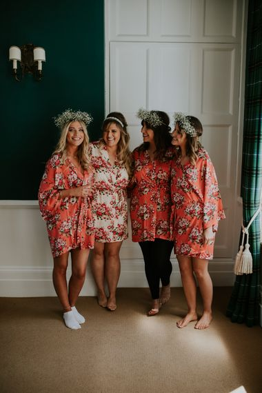 Bride & Bridesmaids In Floral Robes // Coastal Wedding In St Mawes Cornwall With Food By The Hidden Hut And Planning By Isla And Smith With Images From Enchanted Brides Photography
