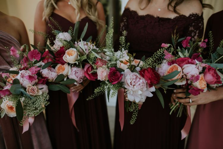 Berry Toned Wedding Bouquets // Coastal Wedding In St Mawes Cornwall With Food By The Hidden Hut And Planning By Isla And Smith With Images From Enchanted Brides Photography