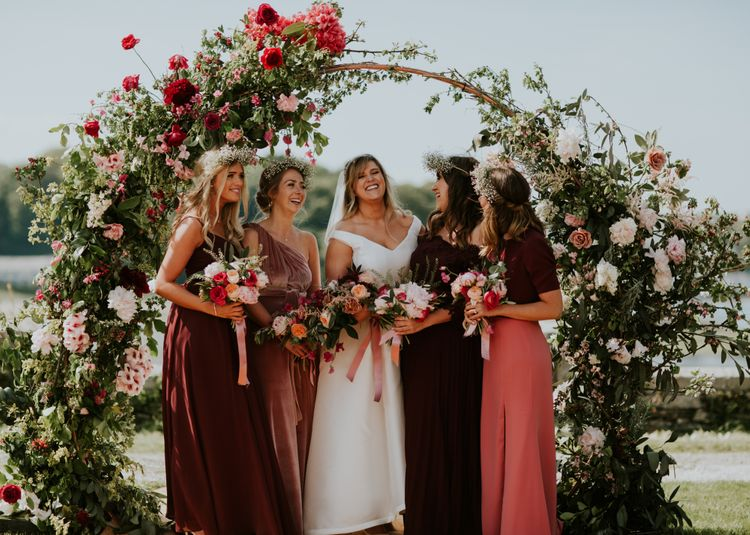 Floral Arch By Flowers With M // Coastal Wedding In St Mawes Cornwall With Food By The Hidden Hut And Planning By Isla And Smith With Images From Enchanted Brides Photography