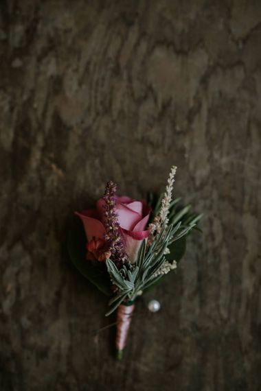 Pink Rose Rustic Buttonholes // Coastal Wedding In St Mawes Cornwall With Food By The Hidden Hut And Planning By Isla And Smith With Images From Enchanted Brides Photography