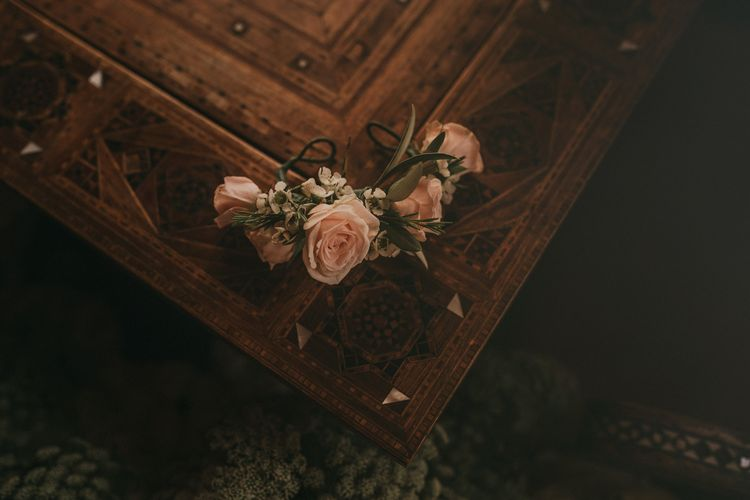 Pink Rose Flower Crown | Marrakesh Wedding at Ksar Char Bagh Hotel, Planned by Instants Magiques | Pablo Laguia Photography | Monika Frias Videography