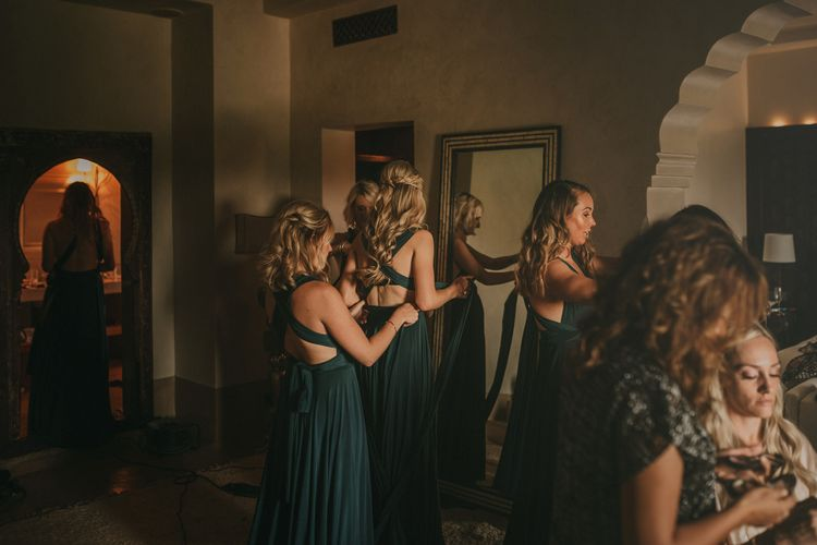 Wedding Morning Bridal Preparations | Bridesmaids in Forest Green Multiway Dresses from Etsy | Marrakesh Wedding at Ksar Char Bagh Hotel, Planned by Instants Magiques | Pablo Laguia Photography | Monika Frias Videography