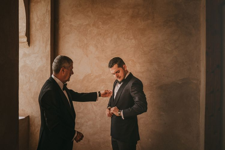 Groom in Zegna Suit | Marrakesh Wedding at Ksar Char Bagh Hotel, Planned by Instants Magiques | Pablo Laguia Photography | Monika Frias Videography