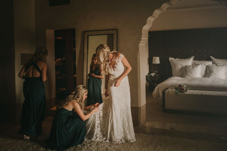 Wedding Morning Bridal Preparations | Bride in  Olvia Lace Gown from TeoKath | Bridesmaids in Forest Green Multiway Dresses | Marrakesh Wedding at Ksar Char Bagh Hotel, Planned by Instants Magiques | Pablo Laguia Photography | Monika Frias Videography