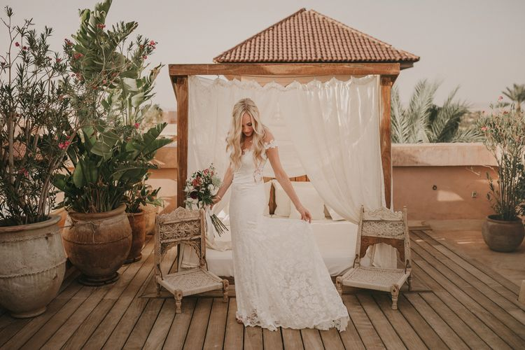 Bride in  Olvia Lace Gown from TeoKath | Marrakesh Wedding at Ksar Char Bagh Hotel, Planned by Instants Magiques | Pablo Laguia Photography | Monika Frias Videography