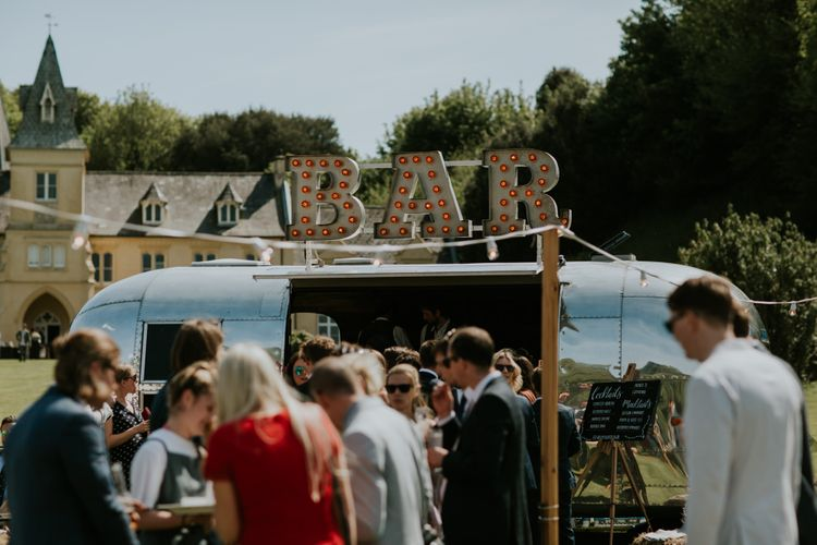 The Buffalo Bar Mobile Airstream Bar // Coastal Wedding In St Mawes Cornwall With Food By The Hidden Hut And Planning By Isla And Smith With Images From Enchanted Brides Photography