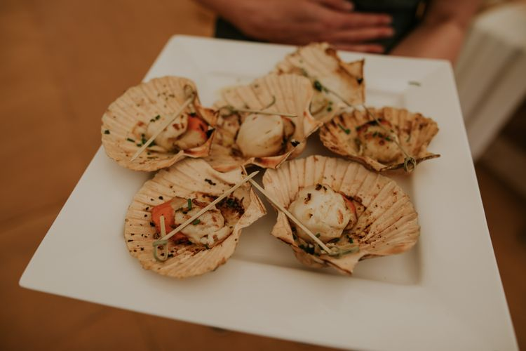 Scallop Wedding Food // Coastal Wedding In St Mawes Cornwall With Food By The Hidden Hut And Planning By Isla And Smith With Images From Enchanted Brides Photography