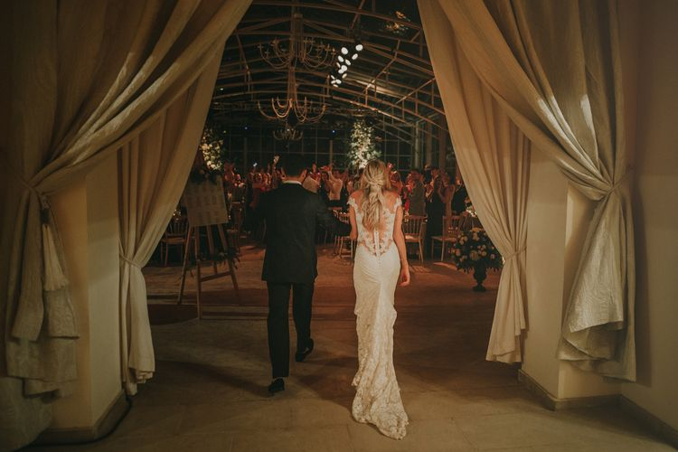 Bride in Olvis Lace Gown from Teokath Bridal Boutique | Groom in  Zegna Suit | Marrakesh Wedding at Ksar Char Bagh Hotel, Planned by Instants Magiques | Pablo Laguia Photography | Monika Frias Videography