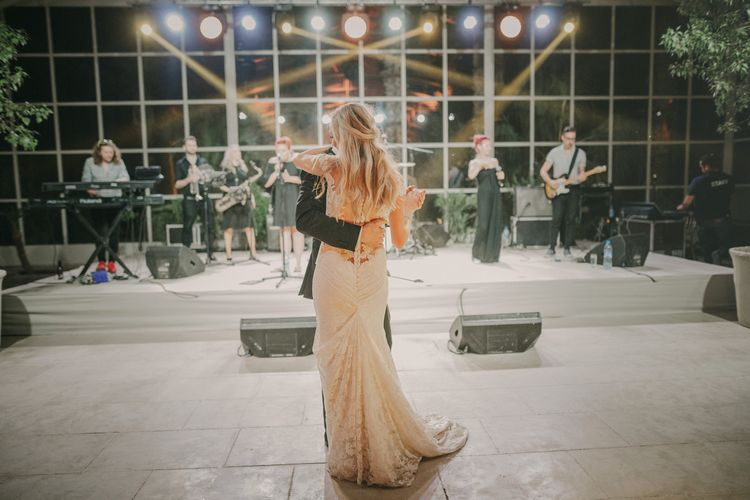 First Dance | Bride in Olvis Lace Gown from Teokath Bridal Boutique | Groom in  Zegna Suit | Marrakesh Wedding at Ksar Char Bagh Hotel, Planned by Instants Magiques | Pablo Laguia Photography | Monika Frias Videography