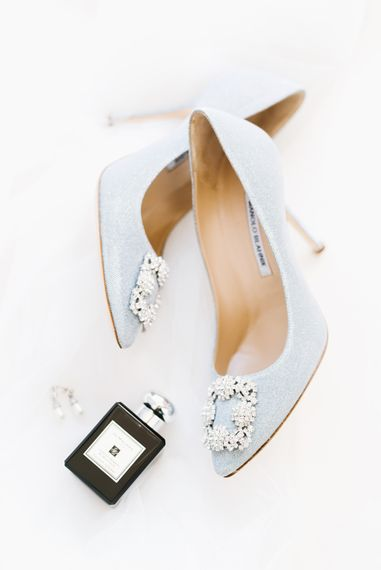 Pale Blue Manolo Blahnik Wedding Shoes // Anglesey Wedding With Foliage Details And Skateboarding Groom And Bride In Emma Beaumont With Images From Emma Pilkington Weddings