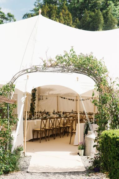 Stretch Tent With Entrance Hall // Anglesey Wedding With Foliage Details And Skateboarding Groom And Bride In Emma Beaumont With Images From Emma Pilkington Weddings