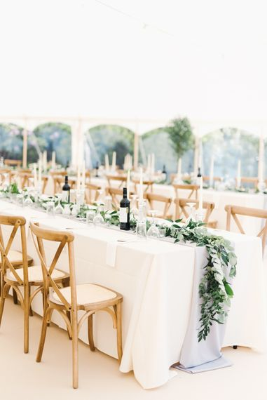 Wooden Cross Back Chairs With Pale Grey Linen
