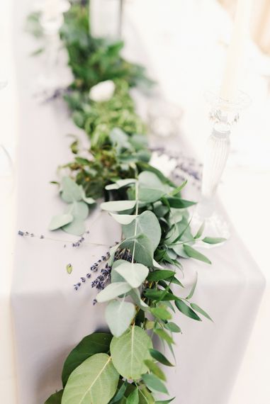Grey Table Runner With Foliage