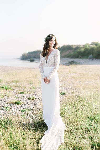 Bride In Bespoke Long Sleeved Lace Wedding Dress By Emma Beaumont