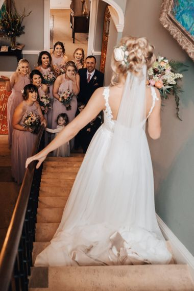 Bridal Party First Look with Bride in Stacey by Modeca Wedding Dress