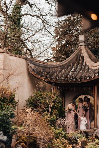 Wedding Ceremony Bridesmaid Entrance  in Pink Dresses