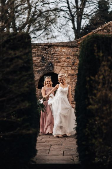 Bride in Stacey by Modeca Wedding Dress and Bridesmaids in Pink ASOS Dress