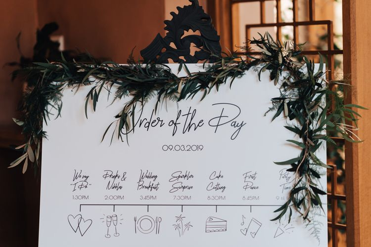 Order of the Day Wedding Sign with Greenery Garland