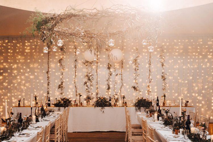 Fairy Light Curtain Top Table Back Drop