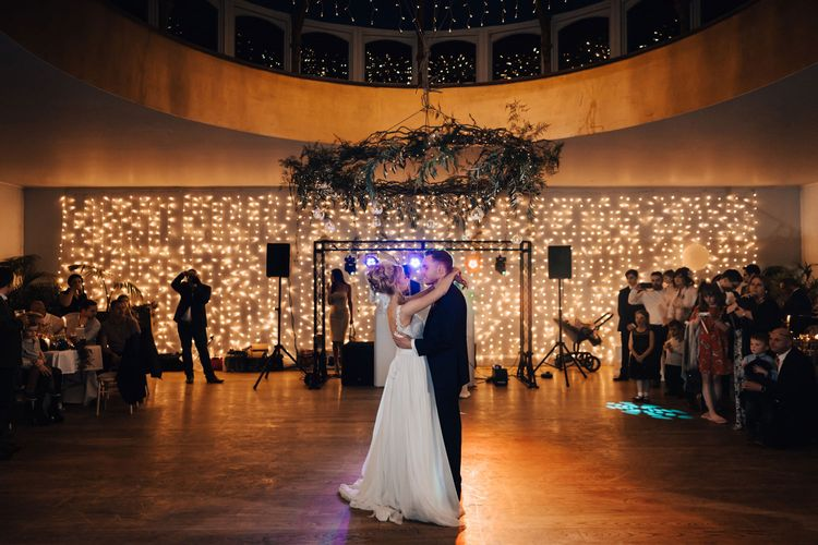 Bride and Groom First Dance with Fairy Light Curtain Dance Floor Backdrop