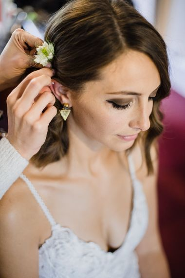 Wedding Morning Preparations | Bridal Hair and Make Up | Grace Loves Lace Gown with Spaghetti Straps and Oversized Rose Embroidery | Gold Triangle Earrings | Shoreditch Wedding at Village Underground with Bride in Grace Loves Lace | Chris Barber Photography