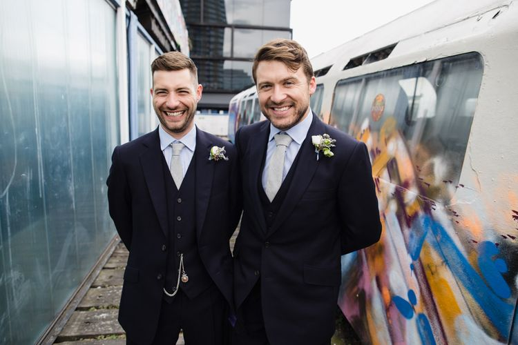 Groom and Best Man in Navy Three Piece Suits from Yardsmen | Shoreditch Wedding at Village Underground with Bride in Grace Loves Lace | Chris Barber Photography