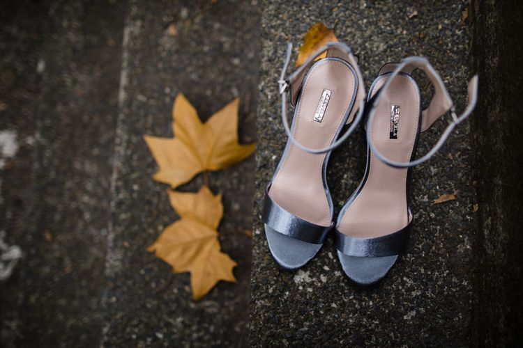 Blue Carvela Strappy Shoes | Shoreditch Wedding at Village Underground with Bride in Grace Loves Lace | Chris Barber Photography