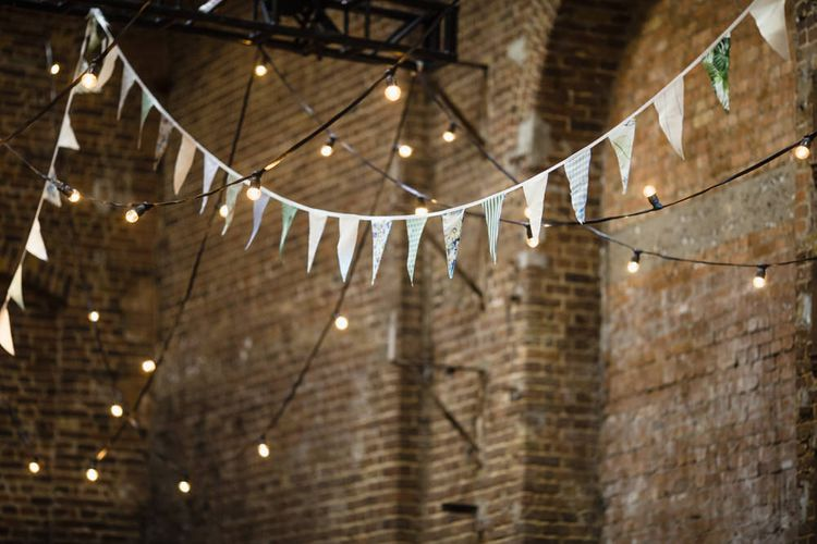 Wedding Reception Decor | Multicoloured Bunting | Festoon Lights | Shoreditch Wedding at Village Underground with Bride in Grace Loves Lace | Chris Barber Photography