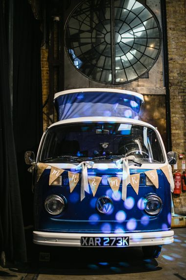 Blue VW Campervan Photobooth | Shoreditch Wedding at Village Underground with Bride in Grace Loves Lace | Chris Barber Photography