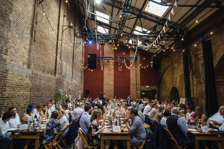 Wedding Reception at Village Underground | Festoon Lights | Multicoloured Bunting | Shoreditch Wedding at Village Underground with Bride in Grace Loves Lace | Chris Barber Photography