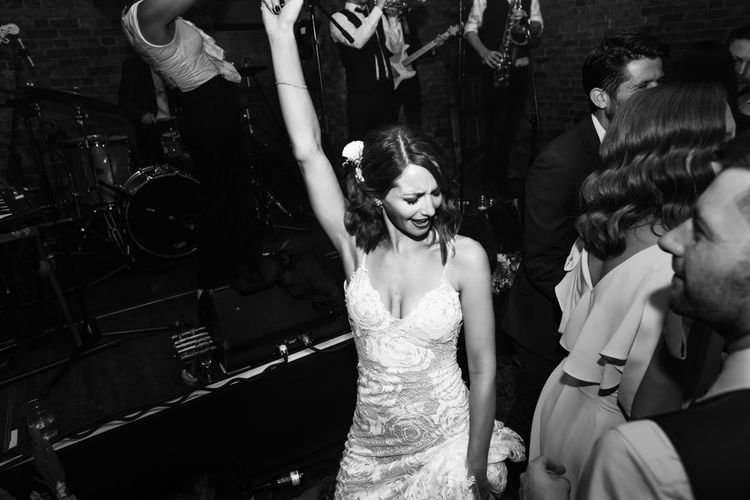 Bride in Grace Loves Lace Gown with Spaghetti Straps and Oversized Rose Embroidery | Shoreditch Wedding at Village Underground with Bride in Grace Loves Lace | Chris Barber Photography