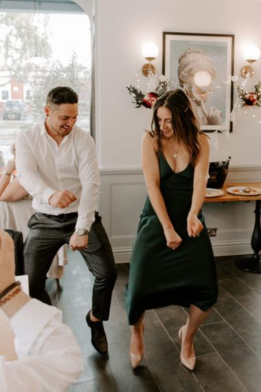 Spontaneous dance off's and Aperol spritz cocktails for intimate reception in London