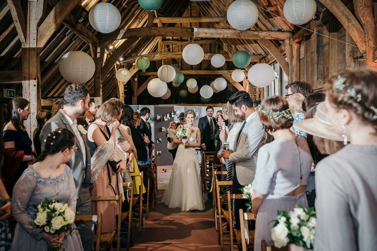 Wedding Ceremony   Bride in Essense of Australia Gown   Gold, Grey & Green Rustic Wedding at The Gilbert White's 16th Century Hampshire Barn   Joasis Photography