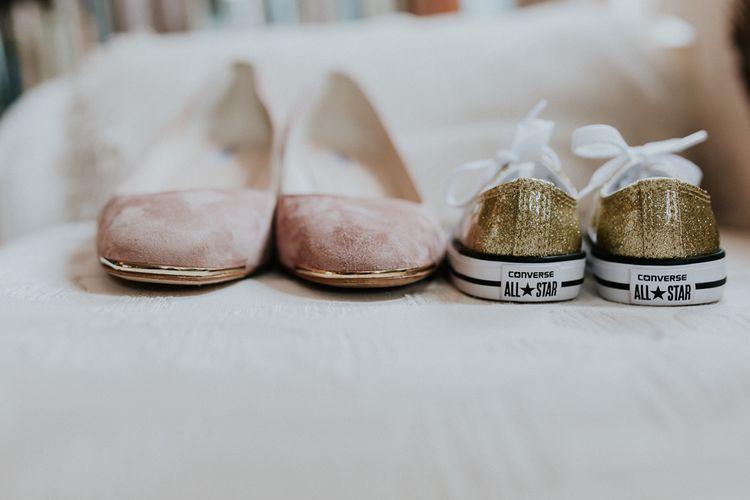 Bridal Shoes   Gold, Grey & Green Rustic Wedding at The Gilbert White's 16th Century Hampshire Barn   Joasis Photography
