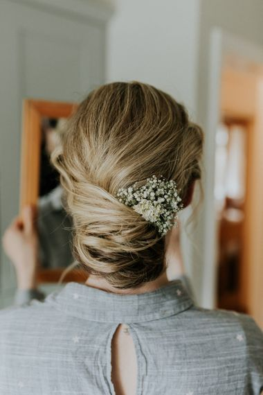 Bridal Up Do with Hair Accessory   Gold, Grey & Green Rustic Wedding at The Gilbert White's 16th Century Hampshire Barn   Joasis Photography