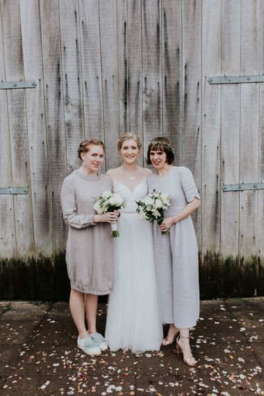 Bridal Party   Bride in Essense of Australia Gown   Groom in  Grey Suit   Gold, Grey & Green Rustic Wedding at The Gilbert White's 16th Century Hampshire Barn   Joasis Photography