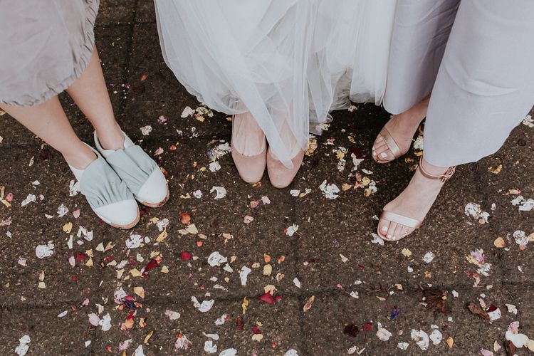 Bridal Party Shoes   Bride in Essense of Australia Gown   Groom in  Grey Suit   Gold, Grey & Green Rustic Wedding at The Gilbert White's 16th Century Hampshire Barn   Joasis Photography