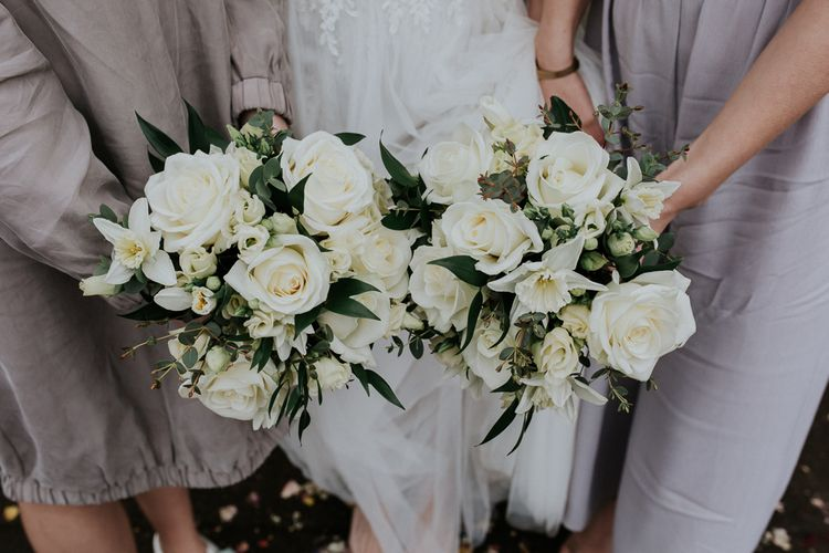 White Rose Bouquets   Gold, Grey & Green Rustic Wedding at The Gilbert White's 16th Century Hampshire Barn   Joasis Photography
