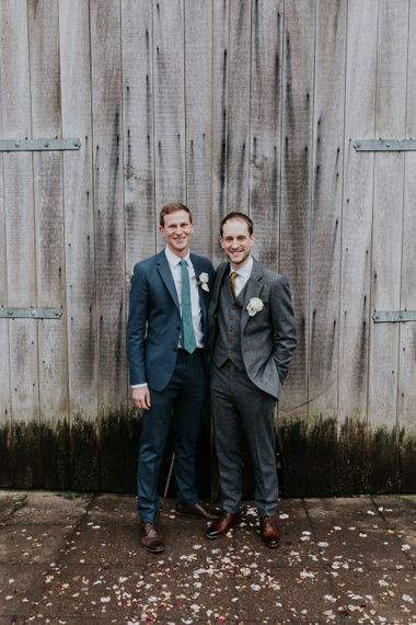 Groom in Grey Suit   Gold, Grey & Green Rustic Wedding at The Gilbert White's 16th Century Hampshire Barn   Joasis Photography