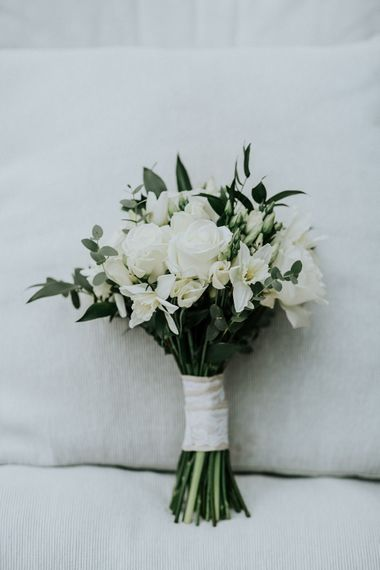 White & Green Bridal Bouquet   Gold, Grey & Green Rustic Wedding at The Gilbert White's 16th Century Hampshire Barn   Joasis Photography