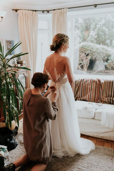 Wedding Morning Bridal Preparations   Bride in Essense of Australia Bridal Gown   Gold, Grey & Green Rustic Wedding at The Gilbert White's 16th Century Hampshire Barn   Joasis Photography