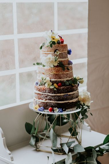 Milk Street Kitchen Naked Wedding Cake   Gold, Grey & Green Rustic Wedding at The Gilbert White's 16th Century Hampshire Barn   Joasis Photography