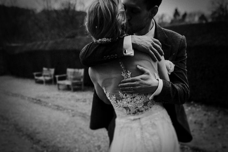 Bride in Essense of Australia Gown   Groom in  Grey Suit   Gold, Grey & Green Rustic Wedding at The Gilbert White's 16th Century Hampshire Barn   Joasis Photography