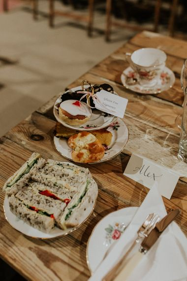 Afternoon Tea Wedding Breakfast   Gold, Grey & Green Rustic Wedding at The Gilbert White's 16th Century Hampshire Barn   Joasis Photography